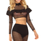 Long sleeve multistitch crochet two piece dress black