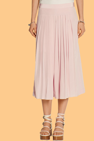 pants pleated culottes blush pink