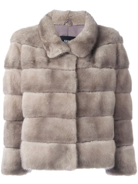 Arma jacket fur jacket short fur women grey