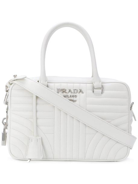 Prada - medium Bauletto tote - women - Calf Leather - One Size, White, Calf Leather