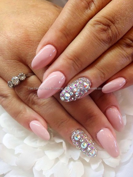 diamonds nail polish light pink almond nails