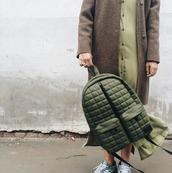 bag,khaki backpack,khaki,green,back to school,backpack,streetwear,streetstyle,spring outfits