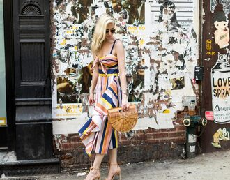 yael steren blogger dress shoes bag jewels make-up nail polish midi dress summer dress cult gaia bag sandals high heel sandals summer outfits