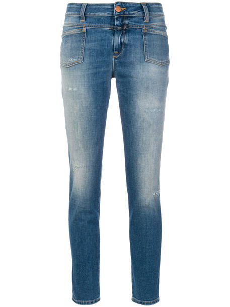 Closed jeans cropped jeans acid wash cropped women spandex cotton blue