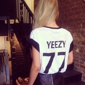 shirt,white,black,quote on it,kanye west,yeezy,jersey,black and white shirt,77
