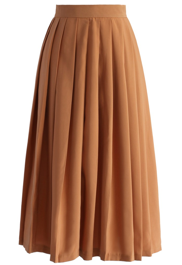 Gentle Pleats Midi Skirt in Tan - Retro, Indie and Unique Fashion