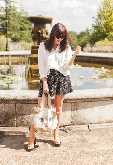 wish wish wish skirt shoes bag blogger blouse