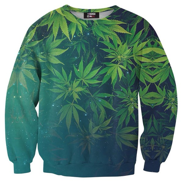 shirt weed sweater green leaf crewneck sweater style