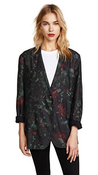 blazer floral blazer floral black jacket
