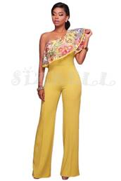 jumpsuit,dress,wide leg jump suit,wide legged pants,off the shoulder,one shoulder,embroidered,yellow,mustard