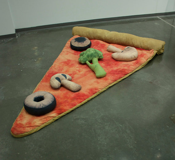 Slice of Pizza Sleeping Bag w/ Optional Veggie by Bfiberandcraft