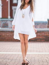 dress,Choies,white,chiffon-shift,slip-sleeves