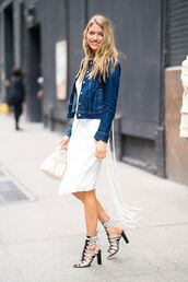 jacket,denim,denim jacket,dress,white dress,shoes,sandals,bag