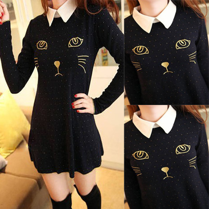 Vintage sweet little cat embroidery basic knitted long sleeve dress-inDresses from Apparel & Accessories on Aliexpress.com