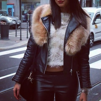jacket clothes fur leather leather jacket fur collar black beige city girl edgy cool fashion hipster grunge girly urban