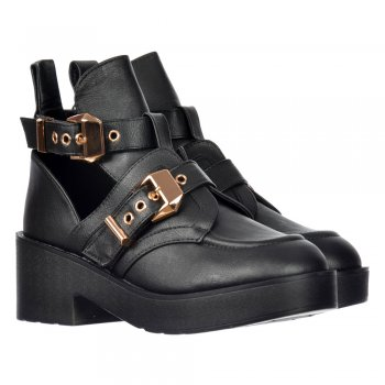 Onlineshoe Cut Out Ankle Chelsea Boot - Cut Out Sides Gold Buckles Straps - Black , Tan - Onlineshoe from Onlineshoe UK