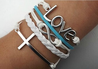bracelets jewels love white rope