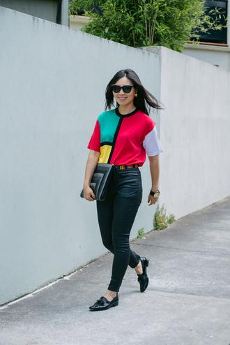 cecylia blogger colorblock pouch sunglasses bag