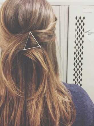 jewels clips hair accessory triangle summer beauty california girl beauty hair accessory accessories hair clip clip hair hipster hipster jewelry long hair unique hair accessory