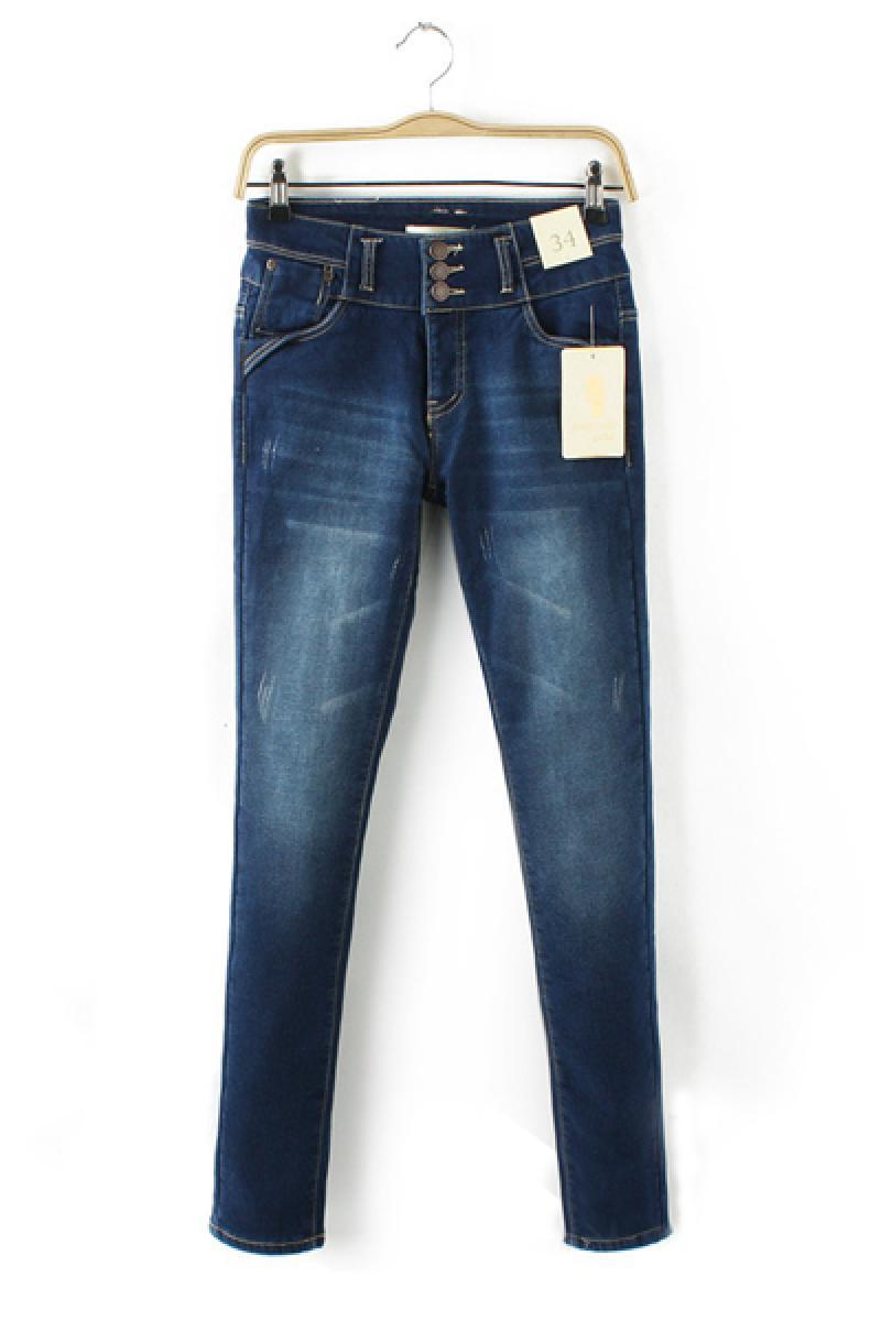 2013 Autumn & Winter High Waist Three Buttons Flocking Jeans,Cheap in Wendybox.com