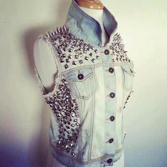 jeans jean vest vest denim studs clothes jacket