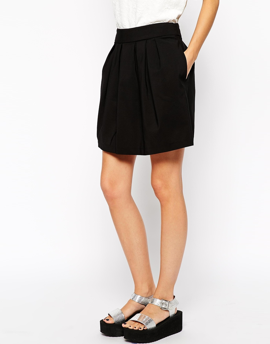 River Island Structured Pleated Skirt at asos.com