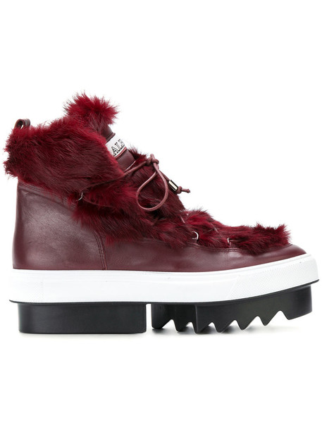 Albano fur fox women lace leather red shoes