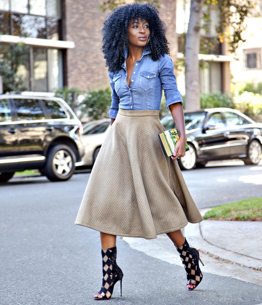 Pantry | Silk Long Sleeve Blouse Striped Midi Skirt