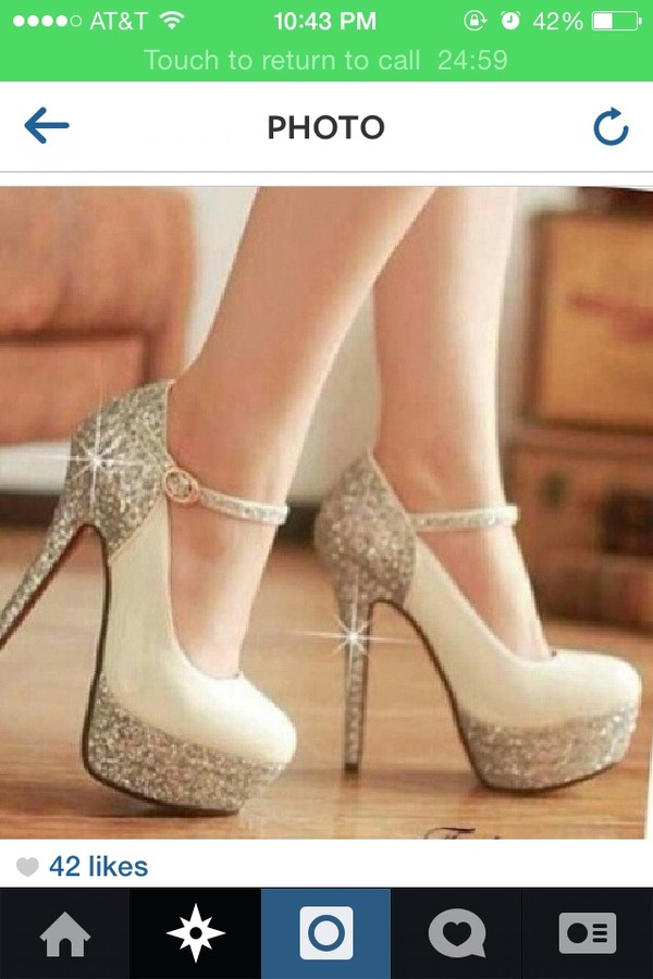 shoes white high heels sparkle