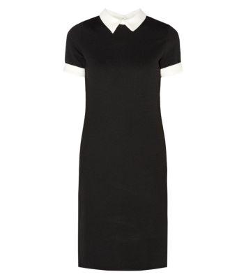 Black textured 1/2 sleeve contrast collar bodycon midi dress