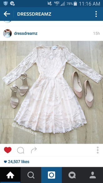 dress embroidered cream nude flats long sleeves