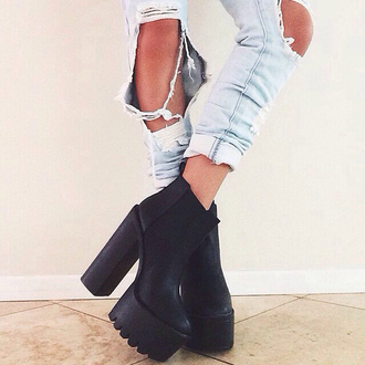 shoes boots chuncky heels fashion sexy jeans ripped jeans cleated sole heels high dark rock pants black style streetwear party high heel high heels punk shoes#scarpe#wow#spettacolo❤️ hot pants black boots black high heel boots black high heels tumblr boyfriend jeans heel boots black shoes
