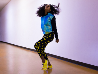 sweater holographic printed pants natural hair black girls killin it