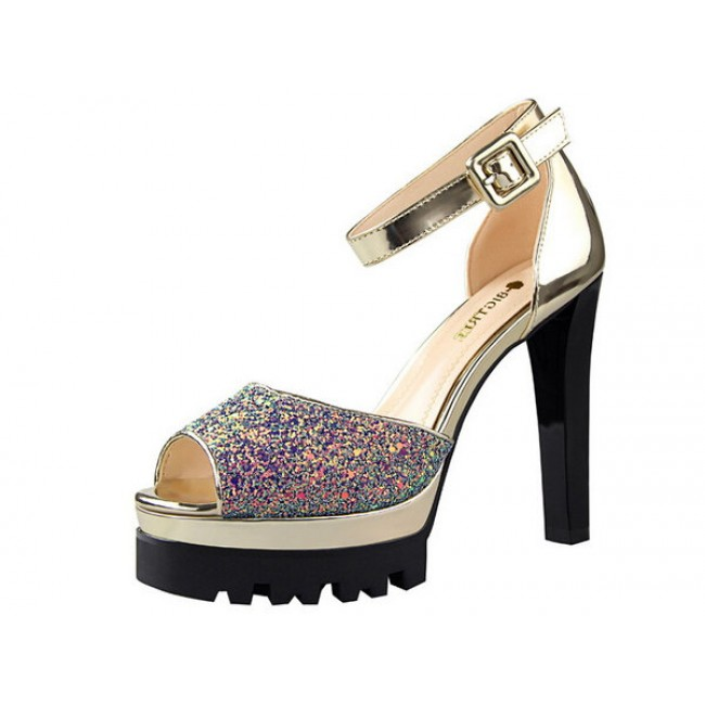 Gold Glitter Open Toe Chunky Cleated Heels