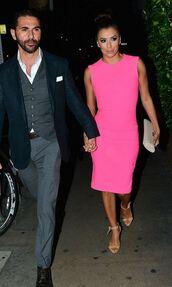 dress,pink,pink dress,eva longoria,sandals,midi dress,shoes