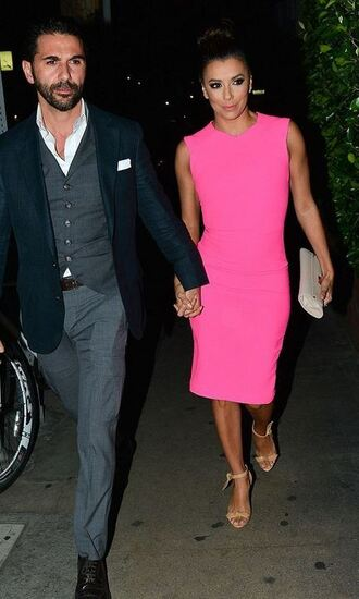 dress pink pink dress eva longoria sandals midi dress shoes