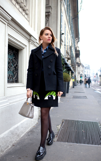 the fashion fruit blogger pea coat black skirt purse earrings