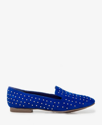 Studded faux suede loafers
