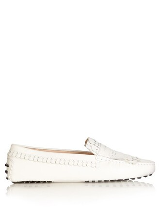 loafers leather white shoes
