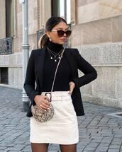 skirt,white skirt,mini skirt,high waisted skirt,crossbody bag,snake print,mini bag,blazer,turtleneck,sunglasses,earrings,chain necklace