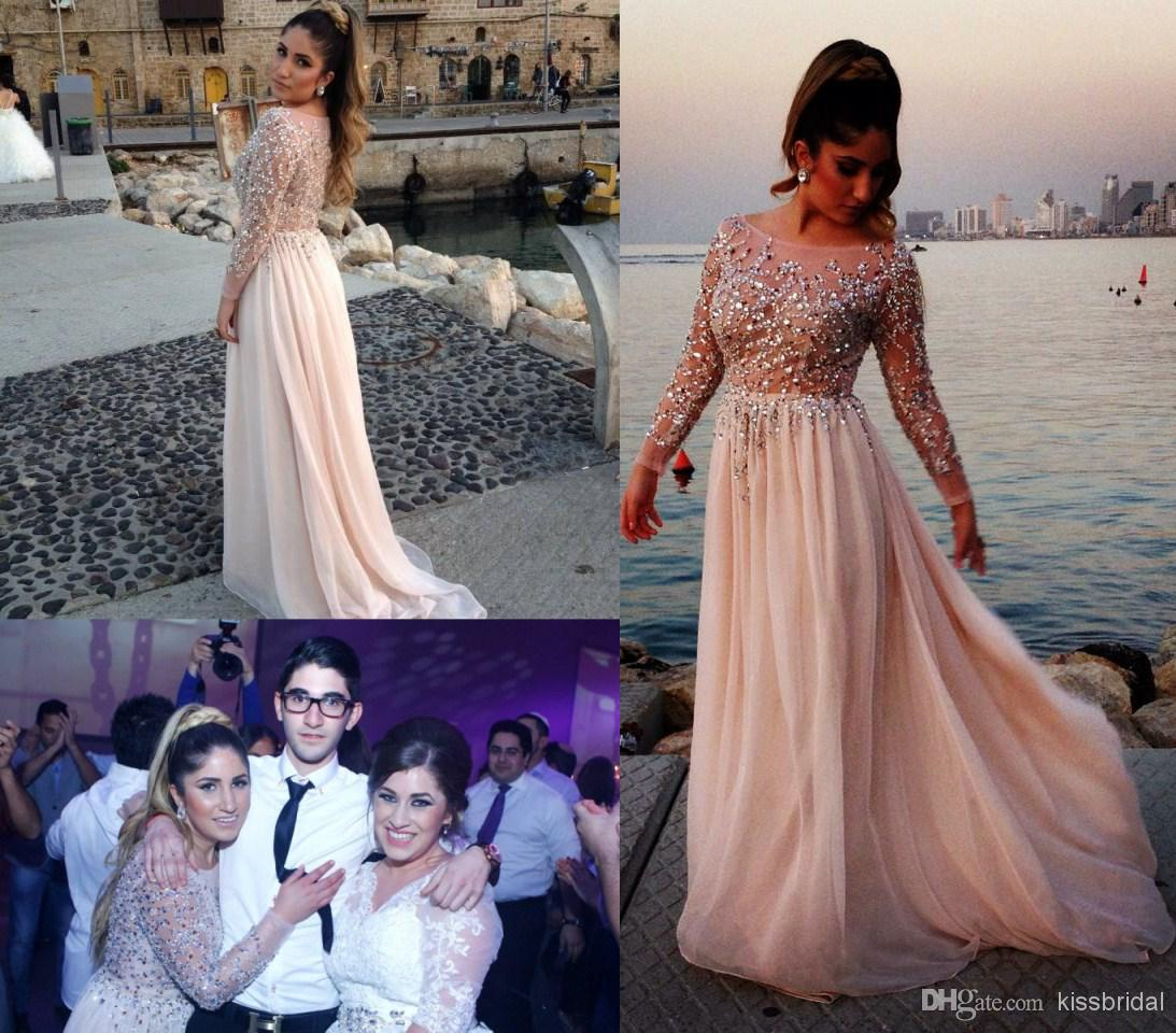 Cheap 2014 Prom Dresses - Discount 2014 Distinctive Crystal Beaded Prom Dresses Sheer Bateau Neck Long Sleeves a Line Chapel Train Chiffon Evening Gowns Celebrity Dress Online with $133.33/Piece | DHgate