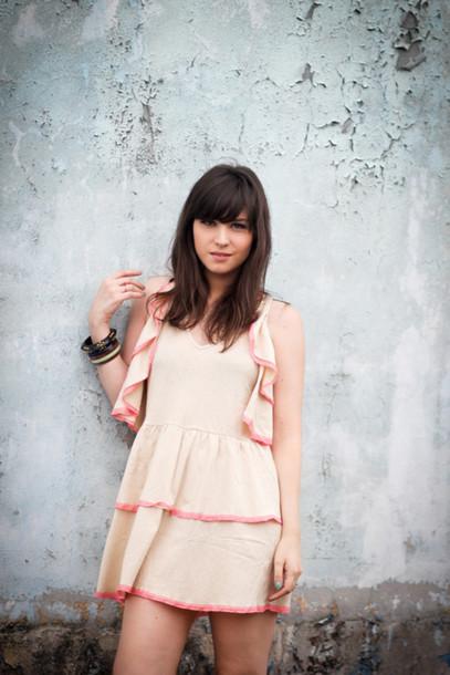 betty ruffle pink dress brown dress