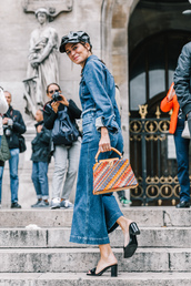 jeans,tumblr,streetstyle,blue jeans,denim,denim culottes,culottes,shoes,shirt,denim shirt,all denim,All denim outfit,fisherman cap,bag,multicolor