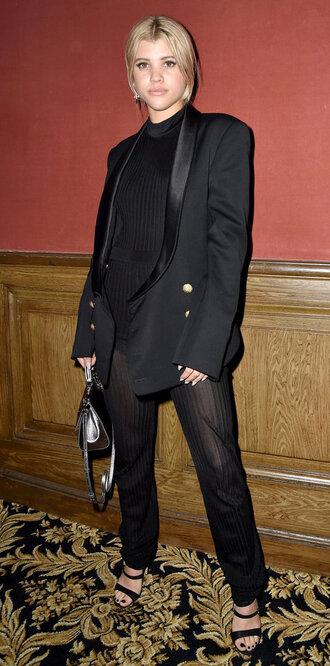 top pants all black everything sandals sofia richie black blazer tailoring fashion week fashion week 2017