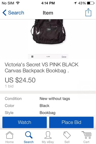 bag black book bag victoria's secret