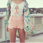 jacket,kimono,floral,sheer,purple,pink,white,yellow,green,blue,light blue,orange,light pink,jeans,shirt,hippie,hipster,boho,dreamcatcher,necklace,cute,pretty,style,stylish,fashion,fashionista,feathers,bohemian,shorts,jewels