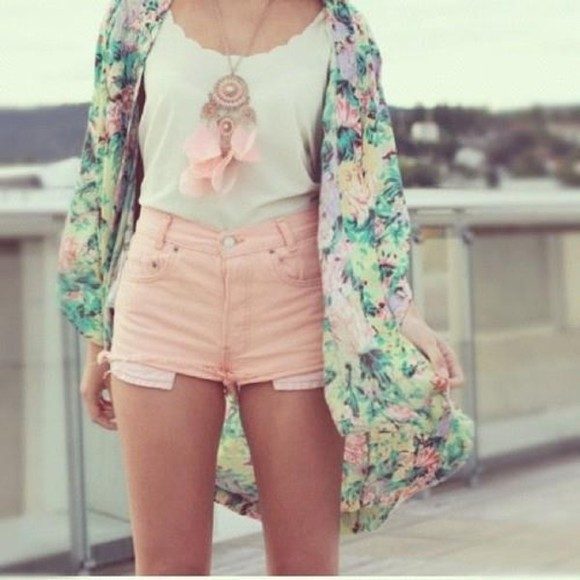white shirt floral sheer jacket cute hippie blue yellow pink jeans fashion pretty fashionable kimono hipster boho bohemian shorts purple green light blue orange light pink dreamcatcher necklace style stylish feather feathers jewels