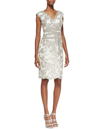 Tadashi Shoji Sleeveless Sequined Lace Overlay Cocktail Dress, Feather/Silver - Neiman Marcus