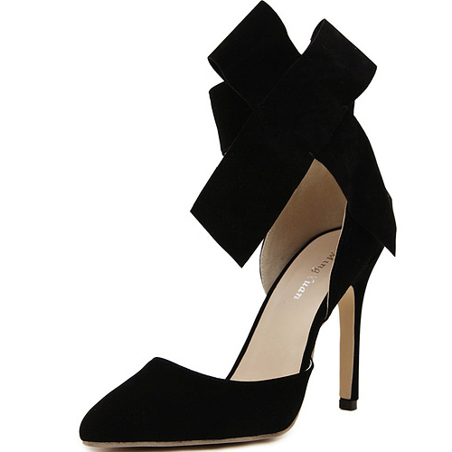 Tie shaped ankle strap design stiletto super high heel black suede basic pumps