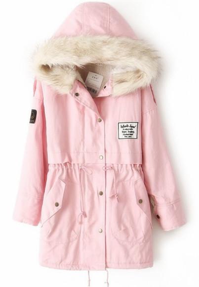 jacket pink jacket pink parka parka coat parka parkas parka jacket winter jacket pink fur